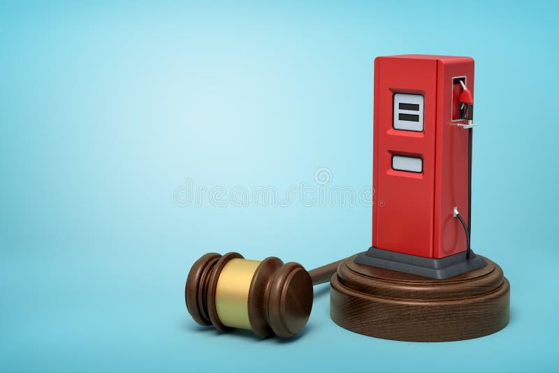 het 3d teruggeven van rood benzinestation op rond houten blok en bruine houten hamer op blauwe achtergrond vector illustratie