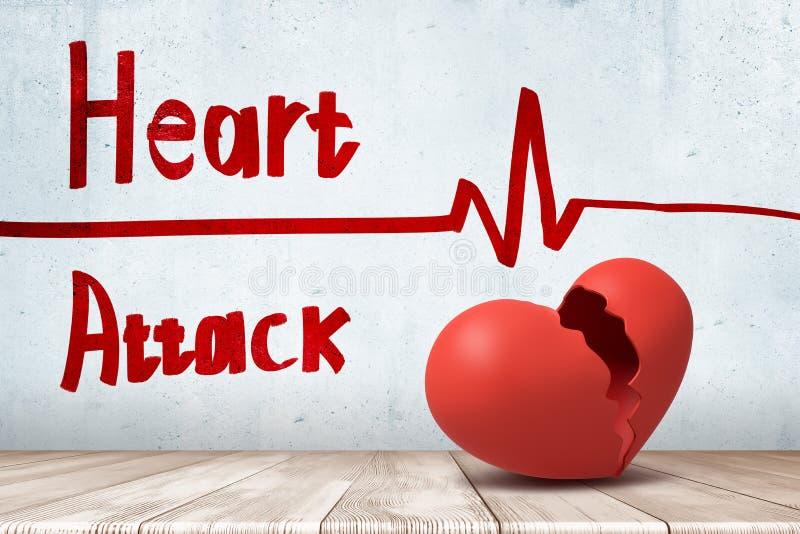 het 3d teruggeven van rood gebroken hart met een het cardiogram en de HARTAANVALteken van het hartritme op witte muurachtergrond stock foto