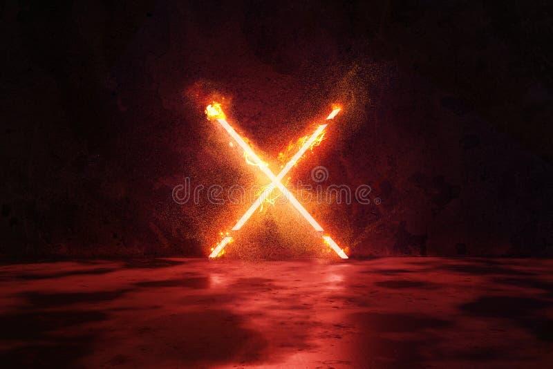 het 3d teruggeven van rood verlicht X-alfabetvorm in brand tegen de achtergrond van de grungemuur vector illustratie