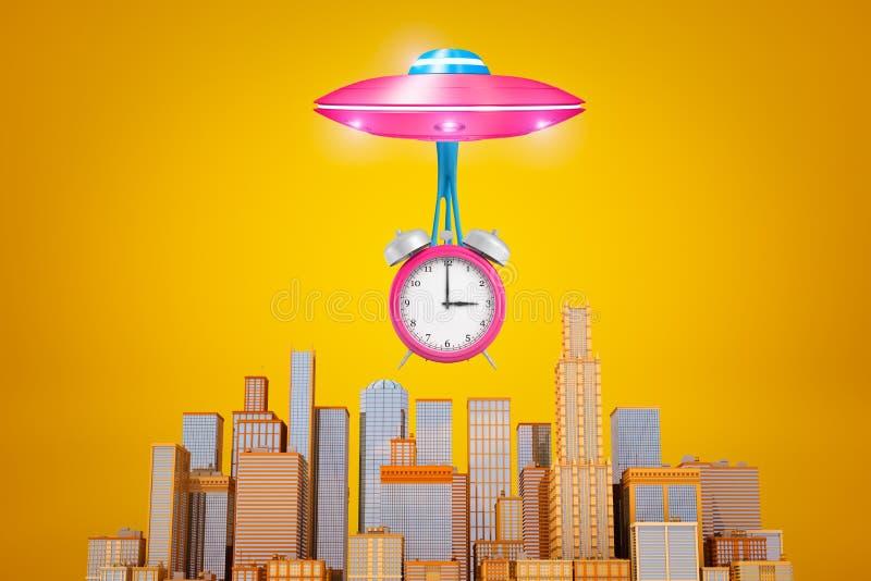 het 3d teruggeven van roze UFO met grote roze die wekker op slijm onder het wordt opgeschort, vliegend boven moderne wolkenkrabbe royalty-vrije illustratie