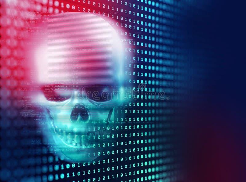 het 3d teruggeven van schedel op technologieachtergrond stock illustratie
