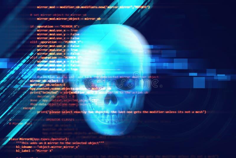 het 3d teruggeven van schedel op technologieachtergrond vector illustratie