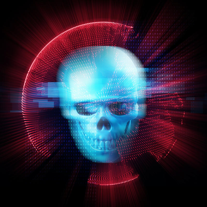 het 3d teruggeven van schedel op technologieachtergrond royalty-vrije illustratie