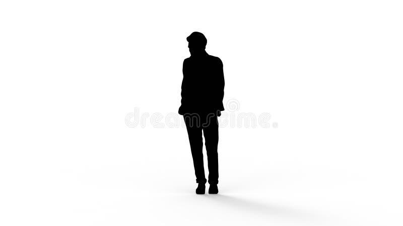 het 3d teruggeven van het silhouet van een persoon op witte achtergrond wordt geïsoleerd die royalty-vrije illustratie