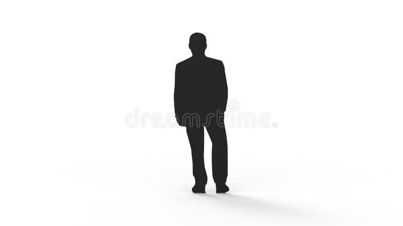 het 3d teruggeven van het silhouet van een persoon op witte achtergrond wordt geïsoleerd die stock illustratie