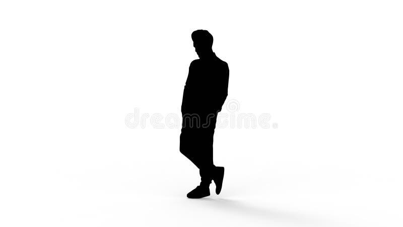 het 3d teruggeven van het silhouet van een persoon op witte achtergrond wordt geïsoleerd die vector illustratie