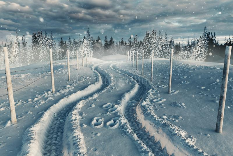 het 3d teruggeven van sneeuwlandschap met weg en steeg royalty-vrije stock afbeelding