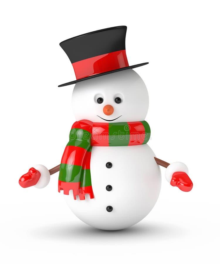 het 3d teruggeven van sneeuwman over wit wordt geïsoleerd dat vector illustratie