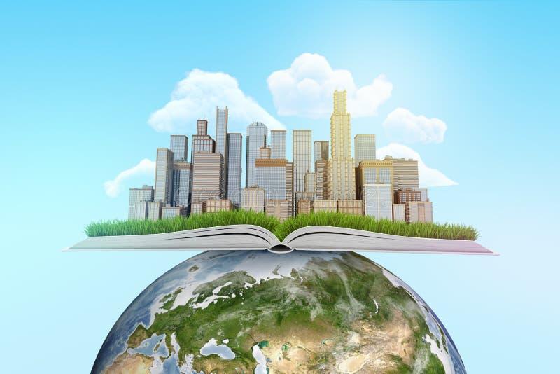 het 3d teruggeven van stadswolkenkrabbers op een open boek bovenop aardebol met blauwe hemelachtergrond royalty-vrije illustratie