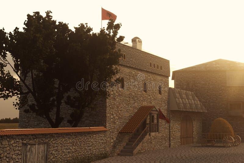 het 3d teruggeven van traditioneel Albanees Kulla-Torenhuis in ev stock afbeeldingen