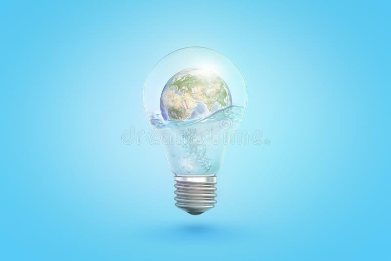 het 3d teruggeven van transparante gloeilamp met aardebol binnen op blauwe achtergrond royalty-vrije illustratie