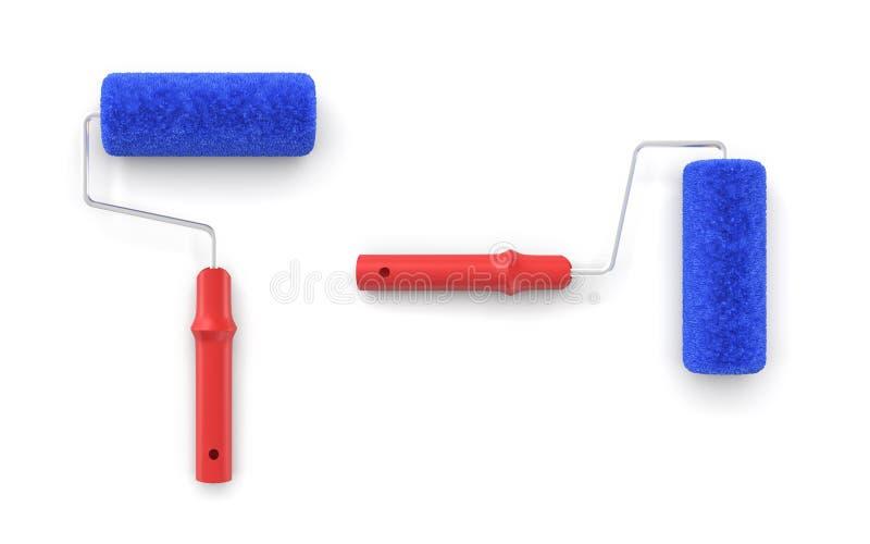 het 3d teruggeven van twee die verfrollen van hierboven met rode handvatten en blauwe pluizige dekking worden gezien vector illustratie