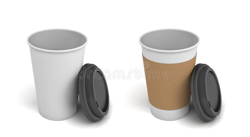het 3d teruggeven van twee koppen van de Witboekkoffie met open zwarte deksels, één van de koppen met een bruine holdingsstreep royalty-vrije stock foto's