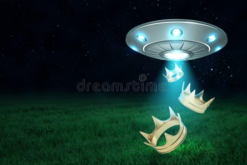 het 3d teruggeven van UFO in lucht bij nacht met gouden kronen die van zijn open broedsel op groen gras uitvallen royalty-vrije illustratie