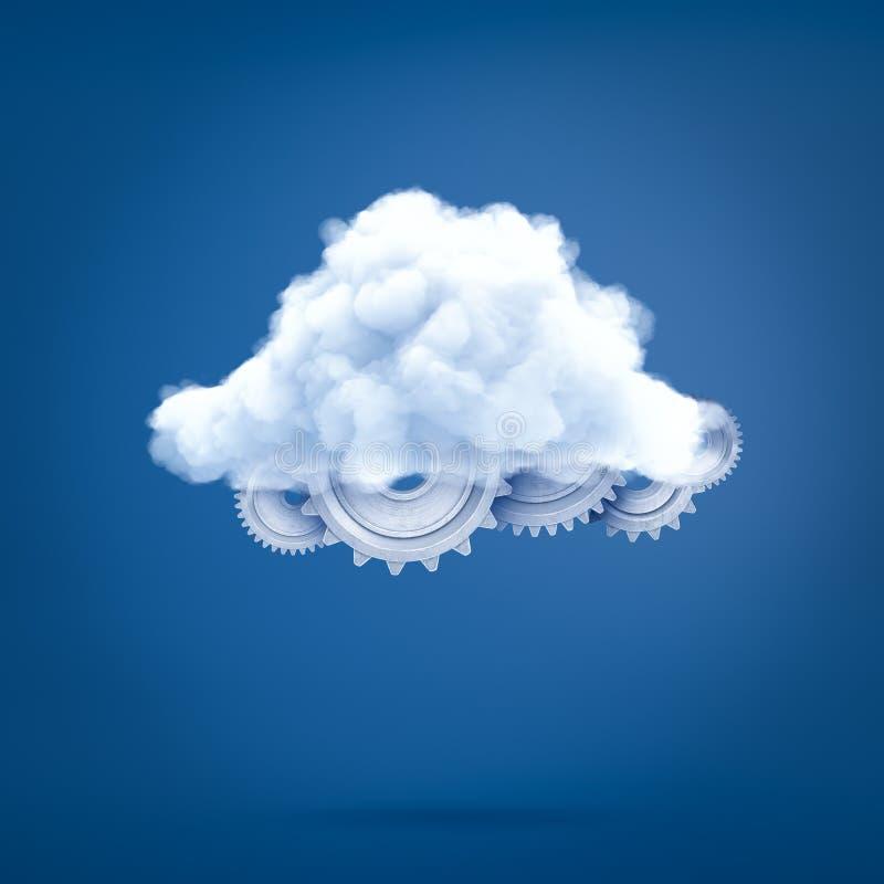 het 3d teruggeven van verscheidene die metaaltandraderen met een witte wolk worden behandeld royalty-vrije illustratie