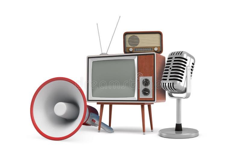 het 3d teruggeven van verscheidene geïsoleerde stukken van uitstekend materiaal: een megafoon, een Televisie, een radio en een mi stock illustratie