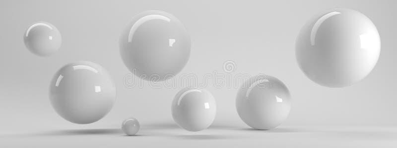 het 3d teruggeven van verscheidene gerangschikte weerspiegelde gebieden binnen wit s stock illustratie