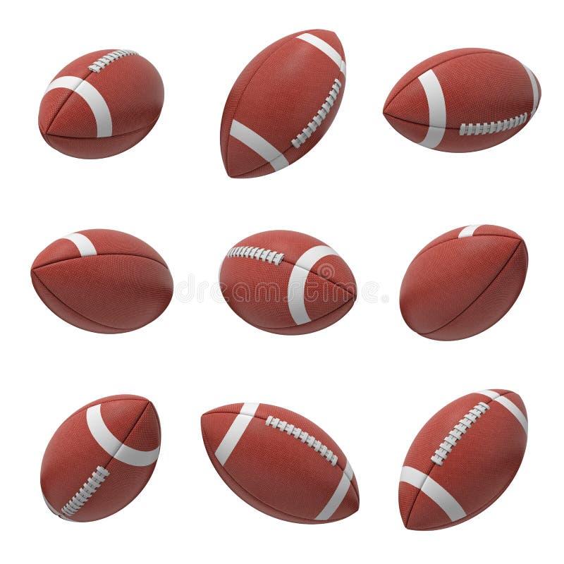 het 3d teruggeven van verscheidene ovale Amerikaanse voetbalbal die op een witte die achtergrond hangen en van verschillende kant stock illustratie