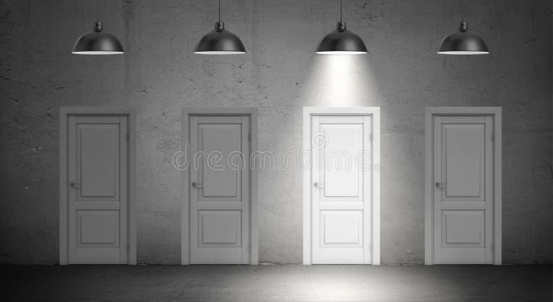 het 3d teruggeven van vier industriële lampen hangt boven identieke omhoog aangestoken deuren en slechts één lamp royalty-vrije stock afbeeldingen