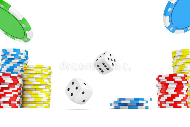 het 3d teruggeven van vier verschillende aaskaarten met de stapels van de casinospaander en het wit dobbelen royalty-vrije stock afbeeldingen
