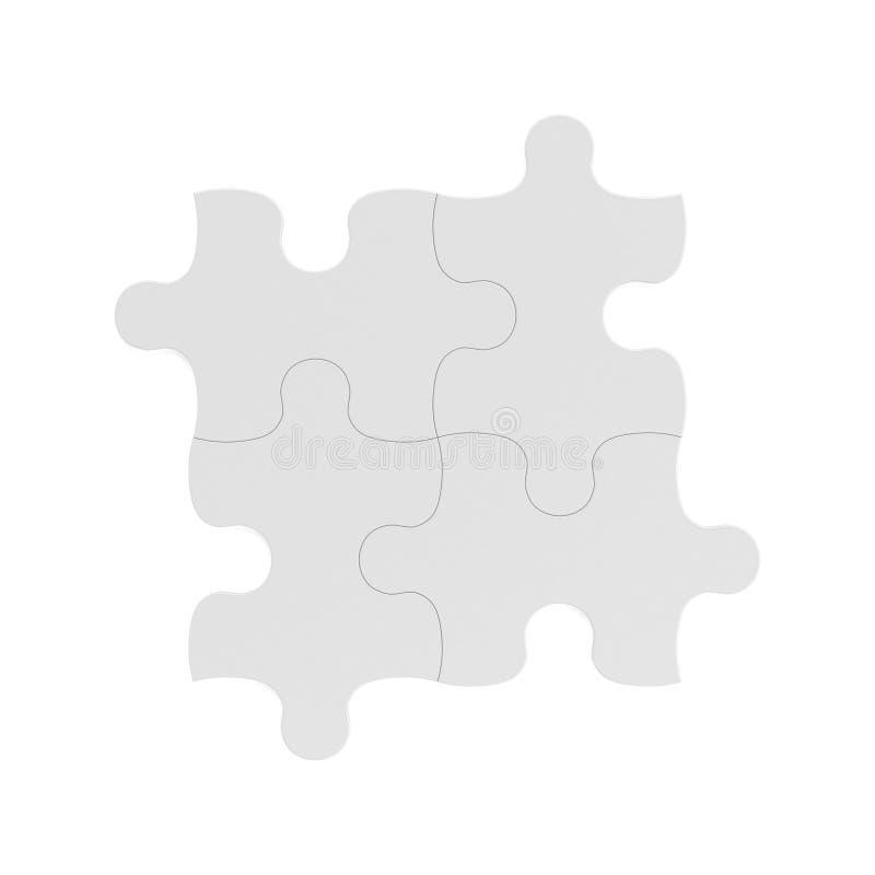 het 3d teruggeven van vier witte raadselstukken verbond samen op witte achtergrond stock illustratie