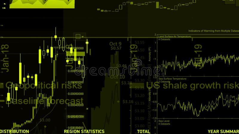 het 3D teruggeven van voorraadindexen in virtuele ruimte De economische groei, recessie stock foto's