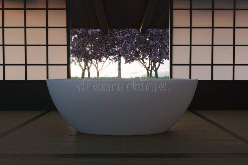 het 3d teruggeven van vrije bevindende badkuip bij traditioneel Japans huis voor kersenbomen royalty-vrije stock afbeeldingen