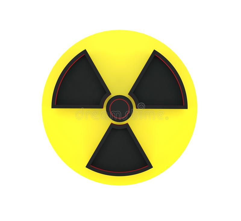 het 3d teruggeven van waarschuwingsbord van radioactieve die streek op witte achtergrond wordt geïsoleerd royalty-vrije illustratie