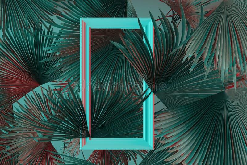 het 3d teruggeven van witte omlijsting met palmbladen in rood en cyaanlicht Vlak leg van minimaal stijlconcept stock foto's