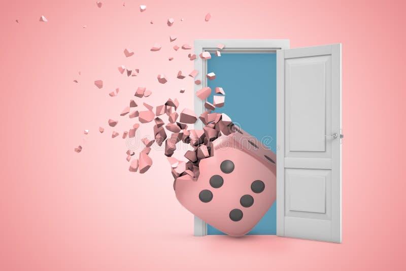 het 3d teruggeven van witte open deuropening met casino dobbelt het verbrijzelen in stukken op lichtrose achtergrond vector illustratie