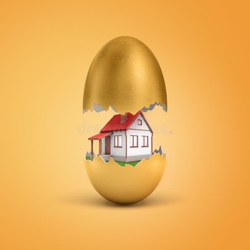 het 3d teruggeven van het witte privé huis uitbroeden uit gouden ei op gele achtergrond stock illustratie