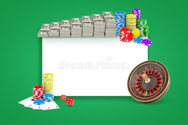 het 3d teruggeven van witte rechthoek met bundels van dollars, stapels spaanders, roulette en pak kaarten op groene achtergrond vector illustratie