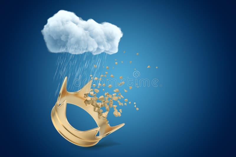het 3d teruggeven van witte regenachtige wolk boven het gouden kroon verbrijzelen in reepjes op blauwe achtergrond vector illustratie