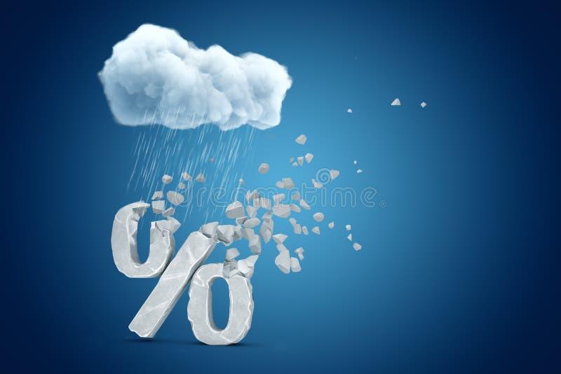 het 3d teruggeven van witte regenachtige wolk boven grijze percenten ondertekent het verbrijzelen in reepjes op blauwe achtergron stock illustratie