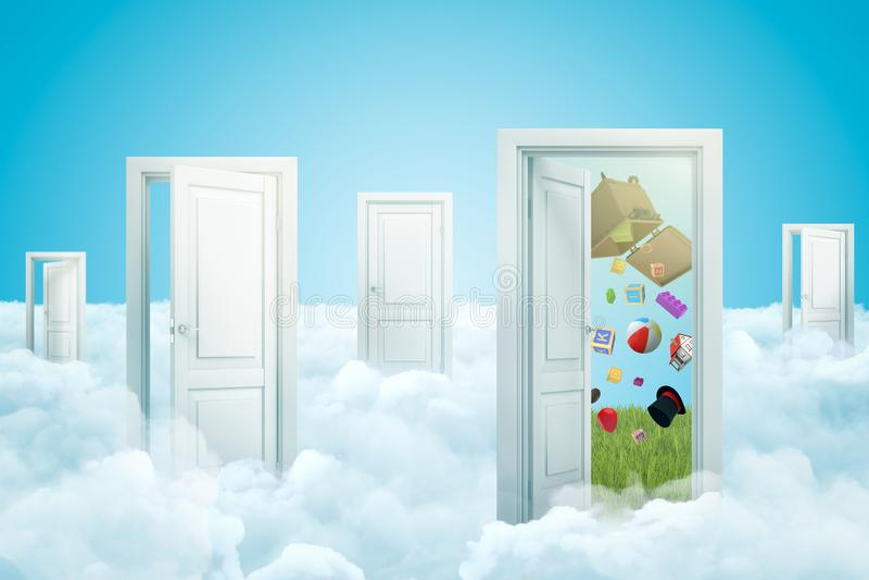 het 3d teruggeven van witte wolken met open deuropeningen en willekeurige voorwerpen die van afvalbak uitvallen op blauwe achterg royalty-vrije illustratie