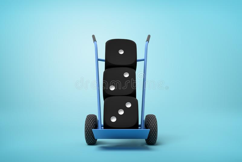 het 3d teruggeven van zwart casino drie dobbelt op een handvrachtwagen op blauwe achtergrond royalty-vrije stock afbeeldingen