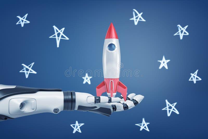 het 3d teruggeven van zwart-wit robotachtig wapen houdt een kleine retro raket op zijn palm op een achtergrond met krijtsterren royalty-vrije stock foto