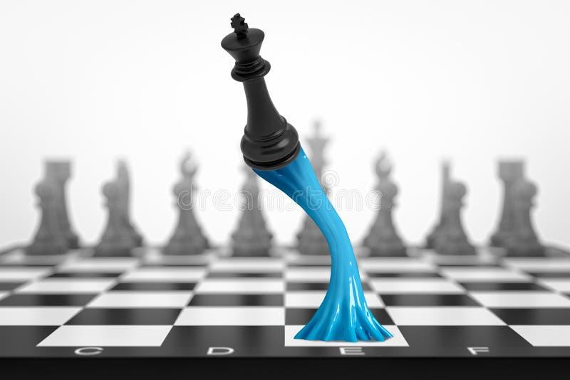 het 3d teruggeven van zwarte schaakkoning plakte aan schaakbord met blauw kleverig slijm op witte achtergrond stock foto