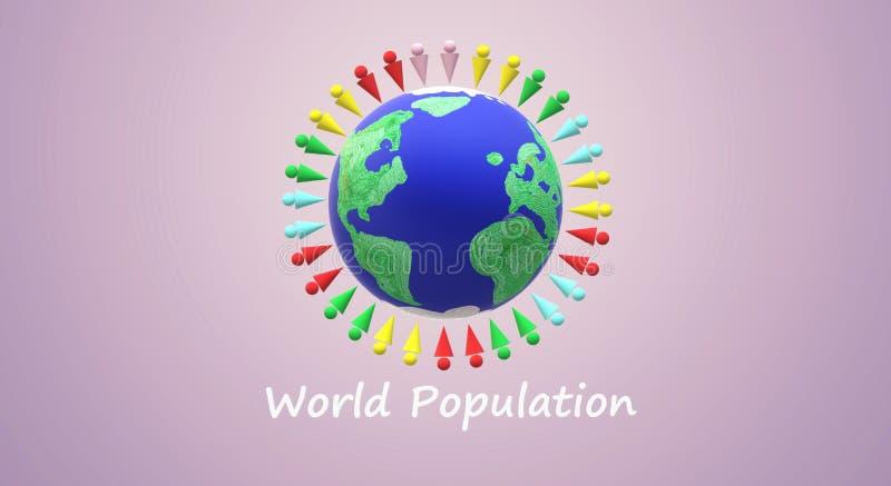 het 3d teruggeven voor de daginhoud van de wereldbevolking royalty-vrije illustratie