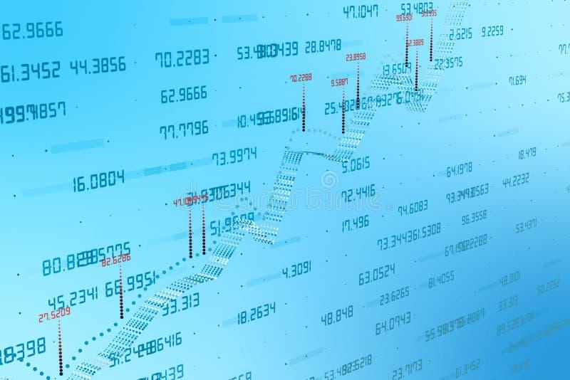 het 3d teruggeven, Voorraadgrafiek met blauwe achtergrond stock afbeelding