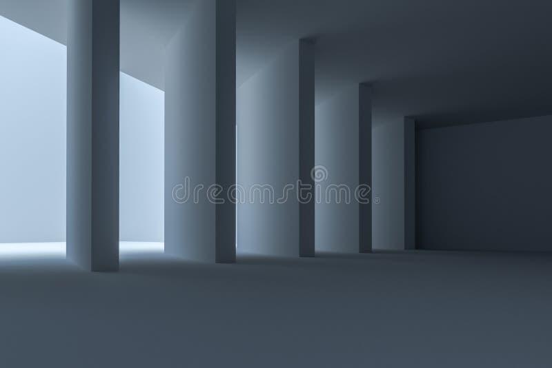 het 3d teruggeven, witte binnenlandse de bouw structuur stock illustratie