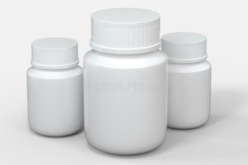 het 3d teruggeven, witte geneeskundefles, pillenfles royalty-vrije illustratie