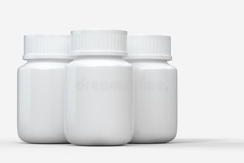 het 3d teruggeven, witte geneeskundefles, pillenfles vector illustratie
