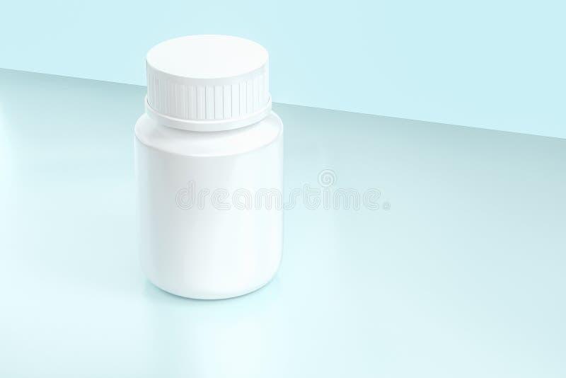het 3d teruggeven, witte geneeskundefles, pillenfles stock illustratie