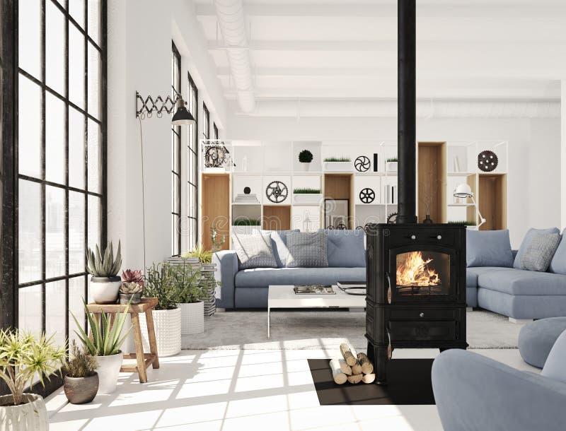 het 3d teruggeven woonkamer met gietijzeropen haard in moderne zolderflat stock illustratie