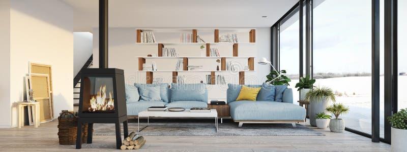 het 3d teruggeven woonkamer met gietijzeropen haard in moderne zolderflat vector illustratie