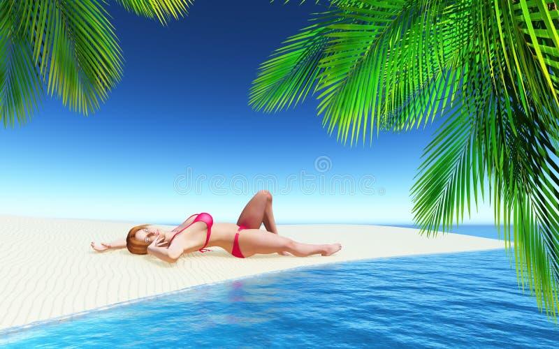 het 3D vrouwelijke zonnebaden op een tropisch strand stock illustratie