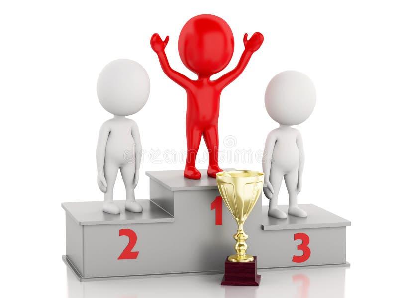 het 3d Winnaar vieren op podium met trofee vector illustratie