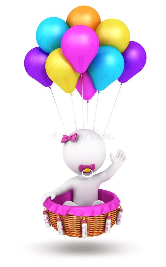 het 3d witte het meisje van de mensenbaby vliegen stock illustratie