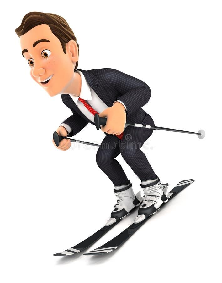 het 3d zakenman ski?en vector illustratie